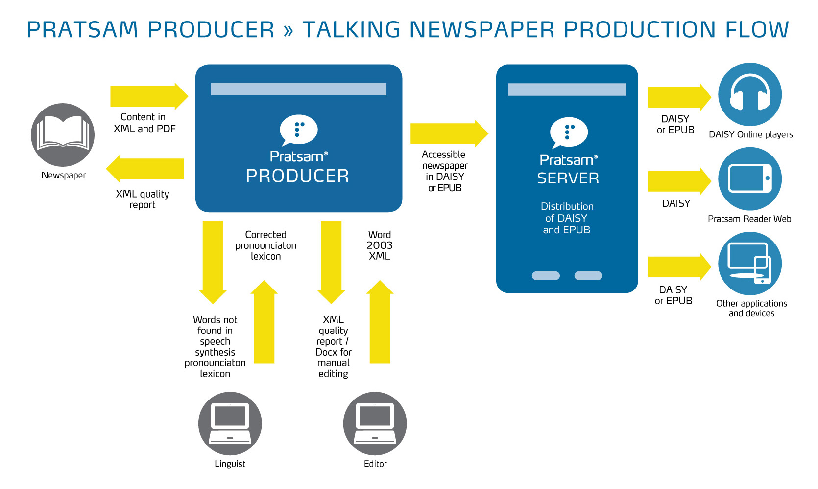 Graphical overview of the usage of Pratsam Producer in relation to accessible newspapers