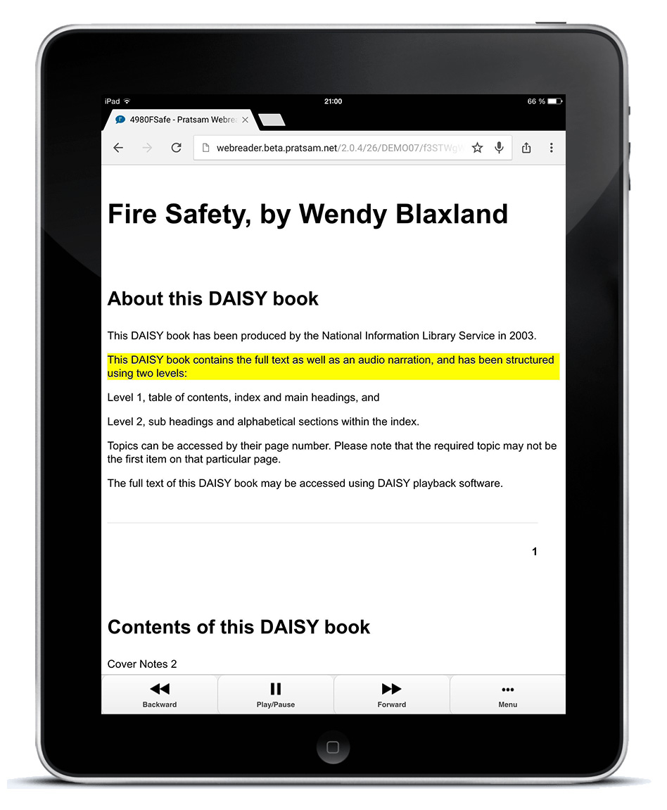 Pratsam Reader Web - Playback of a DAISY book on an iPad